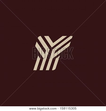 Isolated geometric vector white color alphabet letter y. Monogram symbol on the dark background. Unusual typography element. Vector illustration