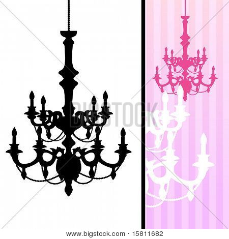Chandelier on pink striped background