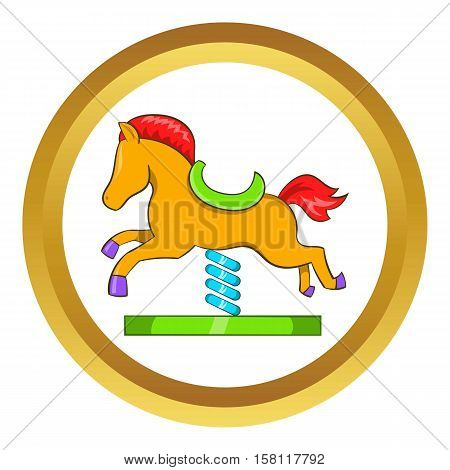 Horse spring see saw vector icon in golden circle, cartoon style isolated on white background