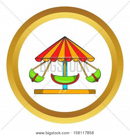 Boat carousel vector icon in golden circle, cartoon style isolated on white background