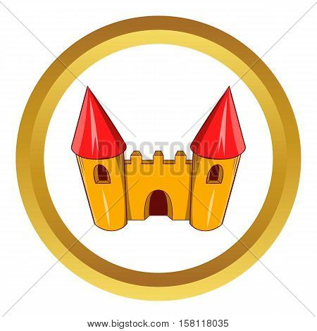 Fairy tale castle vector icon in golden circle, cartoon style isolated on white background