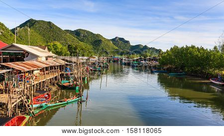 Fishing boats parked in the canal of Thailand