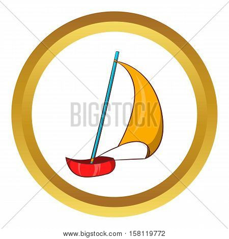 Yacht vector icon in golden circle, cartoon style isolated on white background