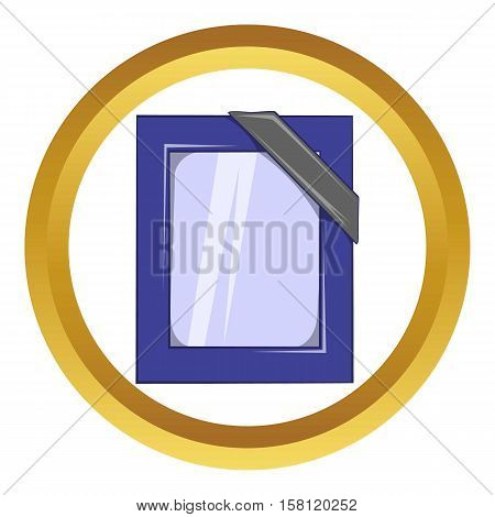 Photos of deceased with ribbon vector icon in golden circle, cartoon style isolated on white background