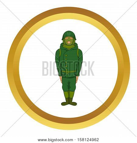 Green military camouflage uniform vector icon in golden circle, cartoon style isolated on white background