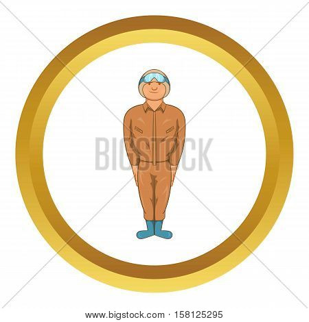 Pilot military uniform in khaki colors vector icon in golden circle, cartoon style isolated on white background
