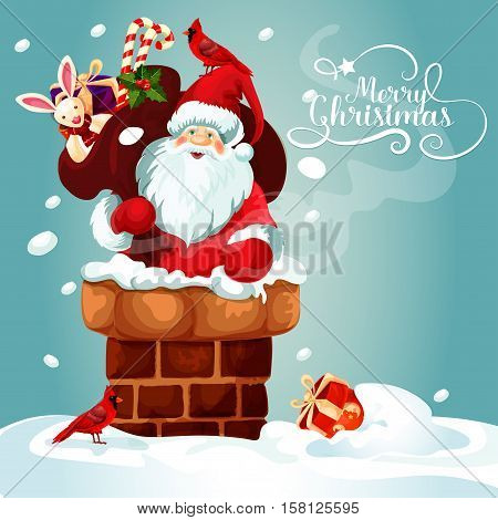 Christmas card with Santa Claus on the roof. Santa with gift bag full of present box, candy cane, holly berry and toy gets into the chimney. Merry Christmas festive poster design