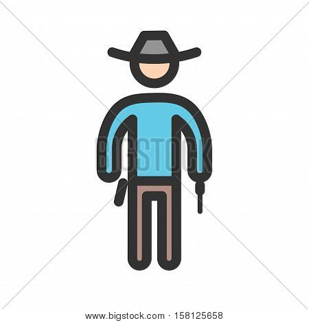 Cowboy, gun, west icon vector image. Can also be used for people. Suitable for web apps, mobile apps and print media.