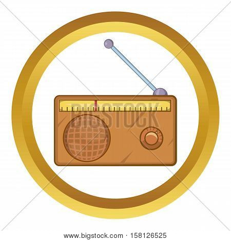 Brown retro style radio receiver vector icon in golden circle, cartoon style isolated on white background