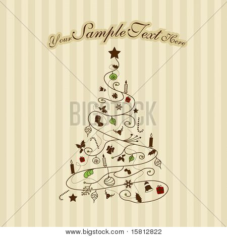 Christmas tree on striped background. Vector