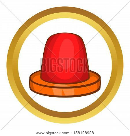Siren vector icon in golden circle, cartoon style isolated on white background