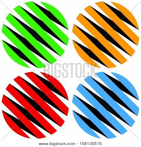 Striped 3D Spheres, Orbs. Sphere Icons, Abstract Sphere Logos.