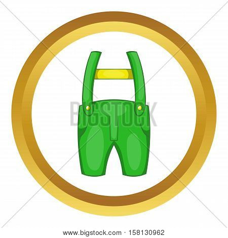 Pants with suspenders vector icon in golden circle, cartoon style isolated on white background