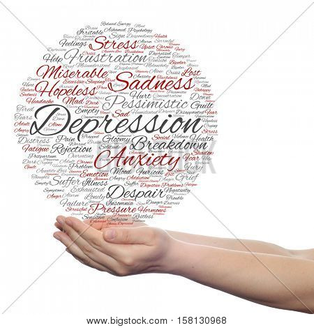 Conceptual depression or mental emotional disorder abstract word cloud held in hands isolated on background