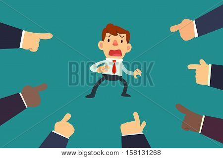 Illustration of businessman with fingers pointing at him