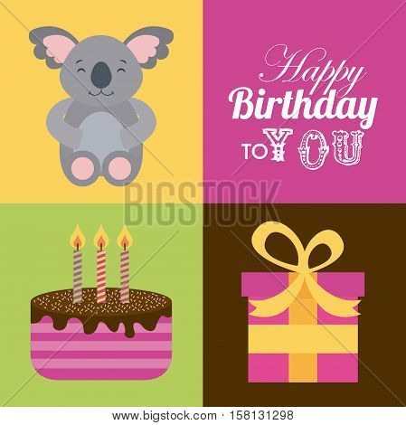 happy birthday card with cute koala and cake with candles and gift box. colorful design. vector illustration