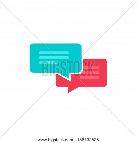 Chat icon vector isolated on white background, flat style dialog bubble speech symbol, messages concept, black and white monochrome sms or chatting icon