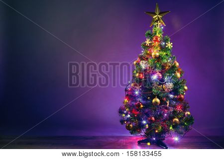 Christmas tree with lights garland