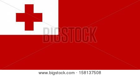 Official vector flag of Tonga . Kingdom of Tonga .