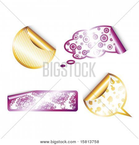 Set of golden and purple labels.