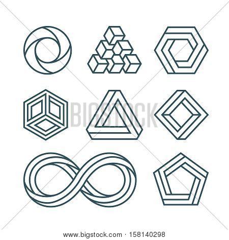 Impossible shapes thin line minimal vector icons set. Linear impossible figure for logo or emblem. Illustration of figure hexagon and round