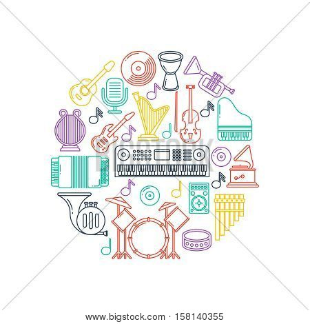 Vector music poster with musical instruments line icons. Concert instruments in form round. Musical guitar, drum and microphone illustration