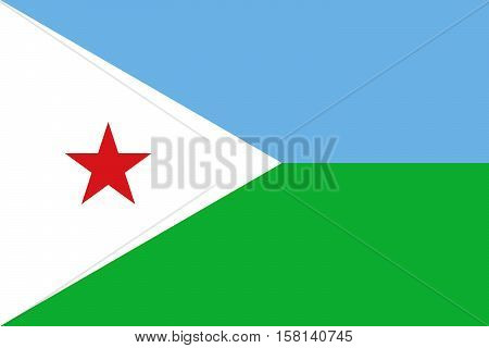 Official vector flag of Djibouti . Republic of Djibouti .