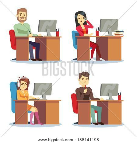 Different people characters women and men working in the office vector set. Person work in office, characters man and woman employee office illustration