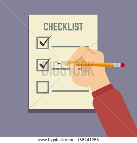 Hand holding pencil with clipboard checklist flat vector illustration. Checklist document, survey questionnaire or checklist