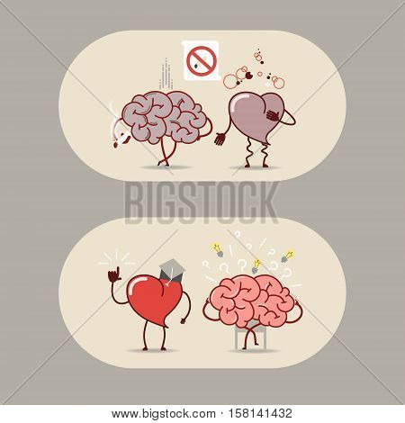 The brain and heart set. Smoking is bad a heart attack. The brain is looking for answers but the heart knows. Vector cartoon icons