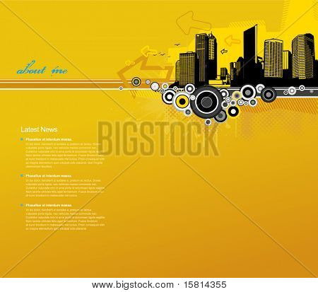 Yellow background with city and place for your text.