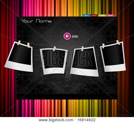 Website template with colored curtain.