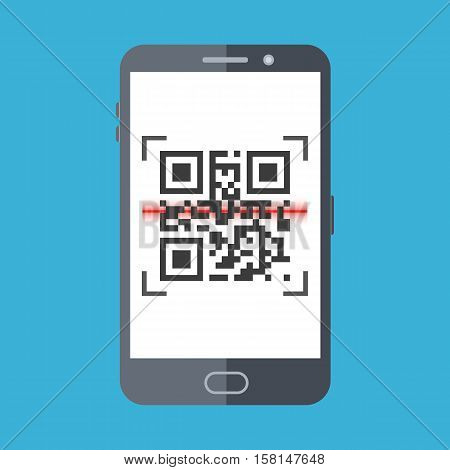 Scan QR code with smartphone. Flat design icon, illustration of mobile application scanning for QR code.