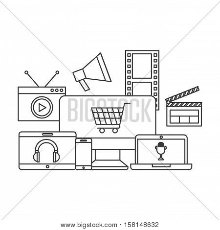 multimedia devices with entertainment icons over white background. vector illustration