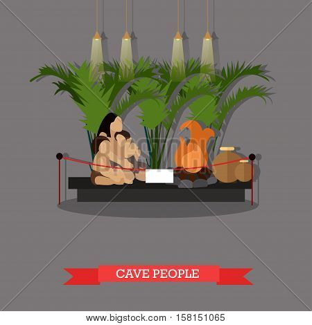 Vector illustration of cave people exposition in museum in flat style. Paleolithic primitive family, museum interior.