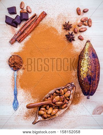 Desserts Background And Menu Design. Brown Chocolate Powder In Spoon , Roasted Cocoa Beans In The Dr