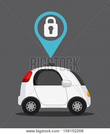 autonomous car vehicle with padlock on pin over gray background. ecology,  smart and techonology concept. colorful design.  vector illustration