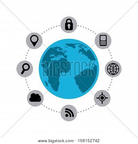 earth planet with navigation and techonology icons around over white background. vector illustration