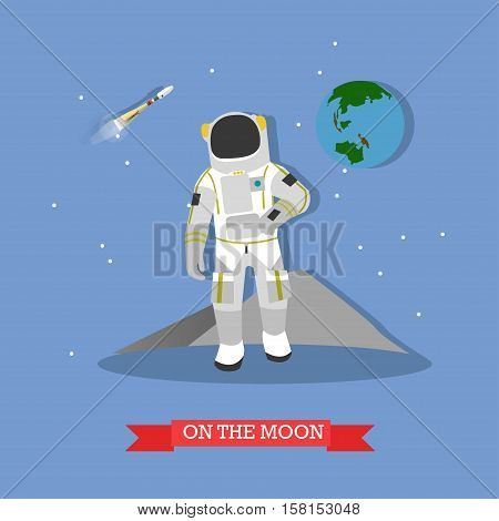 Vector illustration of astronaut walking on the Moon surface. Rocket launch, planet Earth. Moon exploration concept design element in flat style.