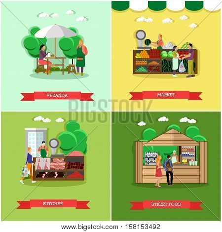 Vector set of shopping market posters, banners in flat style. Veranda, market, butcher, street food design elements in flat style. People selling and buying food.