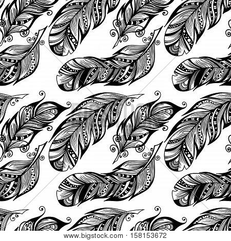 Hand drawn dotted feathers seamless pattern isolated on white background. Vector endless illustration of magic plume. Decorative wallpaper for your design.