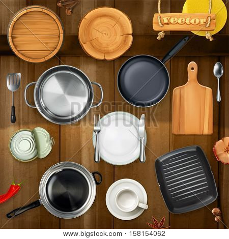 Kitchen utensils. Pots, pans, plates. Top view 3d vector object set
