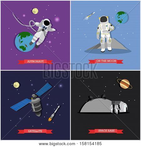 Vector set of space mission, exploration concept illustrations in flat style. Astronauts in outer space, on the Moon, satellite and space base design elements.