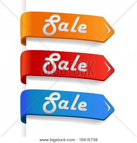 set of colored sale arrow on paper.