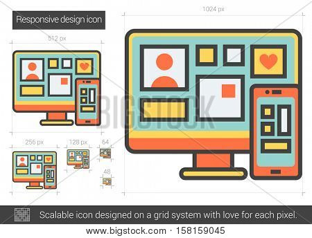 Responsive design vector line icon isolated on white background. Responsive design line icon for infographic, website or app. Scalable icon designed on a grid system.