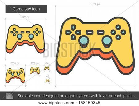 Game pad vector line icon isolated on white background. Game pad line icon for infographic, website or app. Scalable icon designed on a grid system.