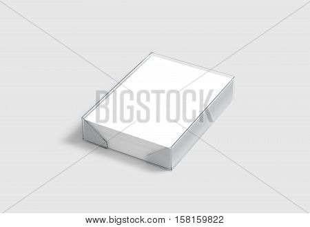 Blank white A4 paper pile mockup in plastic holder clipping path 3d rendering. Many clear pages in acrylic transparent tray mock up isolated.