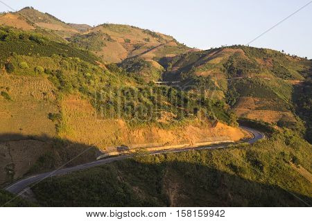 Wide view of Pha Din mountain pass from old National road No.6 on the border of Dien Bien and Son La province, north west of Vietnam.
