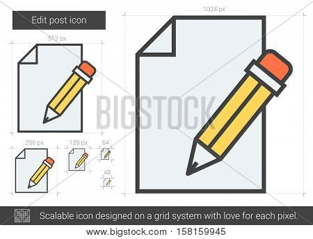 Edit post vector line icon isolated on white background. Edit post line icon for infographic, website or app. Scalable icon designed on a grid system.