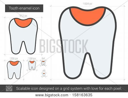 Tooth enamel vector line icon isolated on white background. Tooth enamel line icon for infographic, website or app. Scalable icon designed on a grid system.
